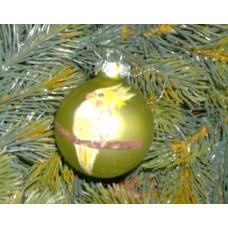"Weihnachtskugel ""Nymphie"" - 6 cm  - gelb-grün, matt"